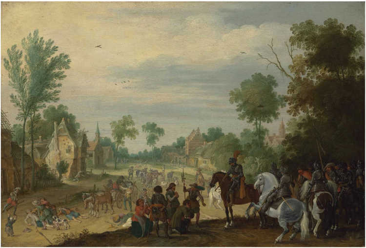 Sebastiaen Vrancx - Soldiers on horseback plundering a village, ca 1635, Commons